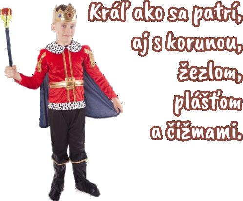 kráľ so žezlom, korunou, plášťom a čižmami